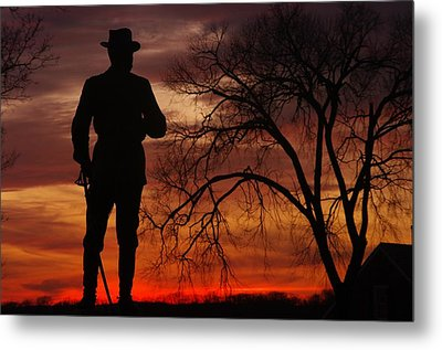 Sky Fire - Brigadier General John Buford - Commanding First Division Cavalry Corps Sunset Gettysburg Metal Print by Michael Mazaika