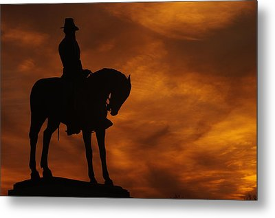 Sky Fire - Major General Oliver Otis Howard - Commanding 11th Army Corps Cemetery Hill Gettysburg Metal Print by Michael Mazaika