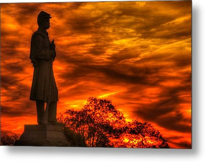 Sky Fire - West Virginia At Gettysburg - 7th Wv Volunteer Infantry Vigilance On East Cemetery Hill Metal Print by Michael Mazaika