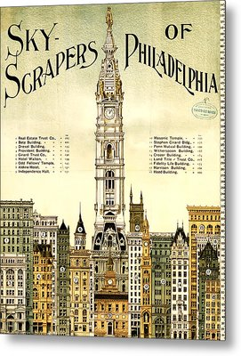 Sky Scrapers Of Philadelphia 1896 Metal Print