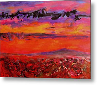 Metal Print featuring the painting Sky Writing by Mary Schiros