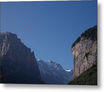 Skydiver Over Lauterbrunnen Metal Print