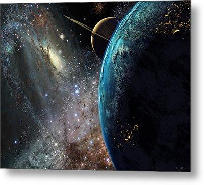 Galaxies Collide Over Terraformed Titan Metal Print by Don Dixon