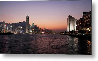 Skyline At Waterfront During Dusk Metal Print by Panoramic Images
