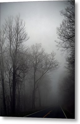 Skyline Drive In Fog Metal Print