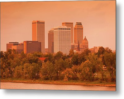 Skyline From The Arkansas River Metal Print by Panoramic Images