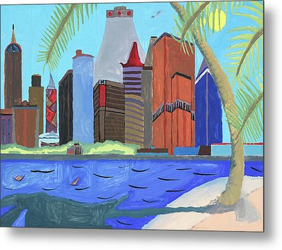 Metal Print featuring the painting Skyline by Artists With Autism Inc