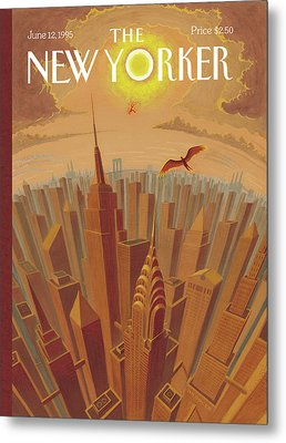 Skyline Of Nyc At Sunset With Icarus Flying Close Metal Print