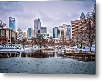 Metal Print featuring the photograph Skyline Of Uptown Charlotte North Carolina At Night by Alex Grichenko