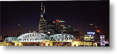 Skylines And Shelby Street Bridge Metal Print by Panoramic Images