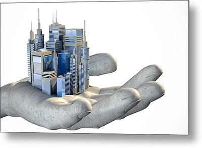 Skyscraper City In The Palm Of A Hand Metal Print