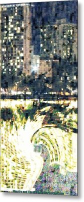 Skyscraper Reflection Painting Metal Print by PainterArtist FIN