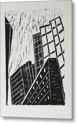 Skyscrapers II - Block Print Metal Print by Christiane Schulze Art And Photography