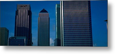Skyscrapers In A City, Canary Wharf Metal Print by Panoramic Images