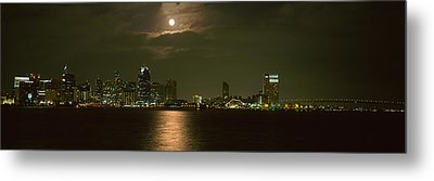 Skyscrapers Lit Up At Night, Coronado Metal Print by Panoramic Images