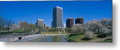 Skyscrapers Near A Canal, Browns Metal Print by Panoramic Images