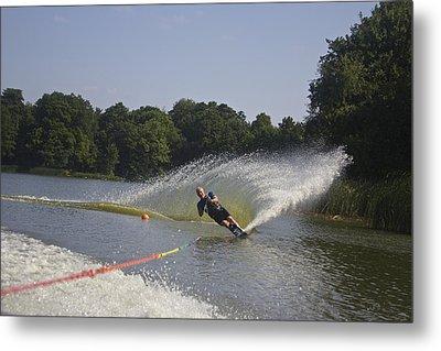 Slalom Waterskiing Metal Print by Venetia Featherstone-Witty