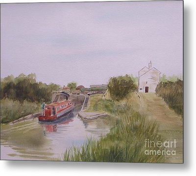 Metal Print featuring the painting Slapton Lock by Martin Howard