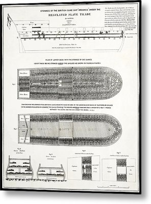 Slave Ship Middle Passage Stowage Diagram  1788 Metal Print by Daniel Hagerman