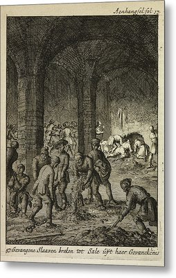 Slaves Working In An Underground Catacomb Metal Print