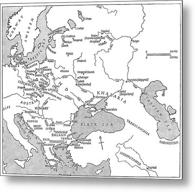 Slavic Population Map Metal Print by Granger