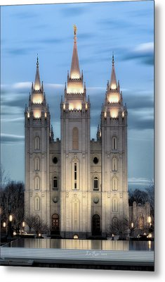 Slc Temple Blue Metal Print by La Rae  Roberts
