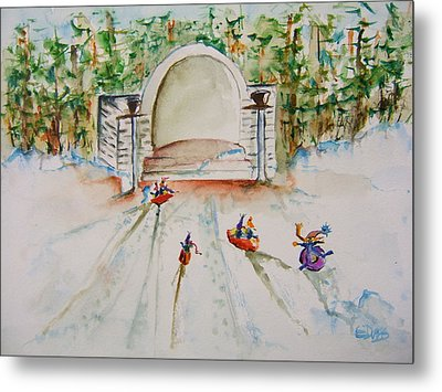 Sledding At Devou Park Metal Print