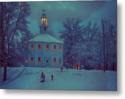 Sledding At The Old Round Church Metal Print by Jeff Folger