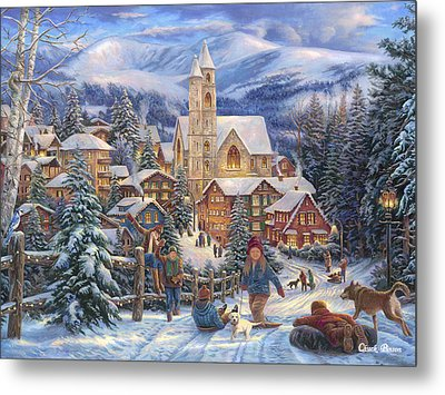 Sledding To Town Metal Print by Chuck Pinson