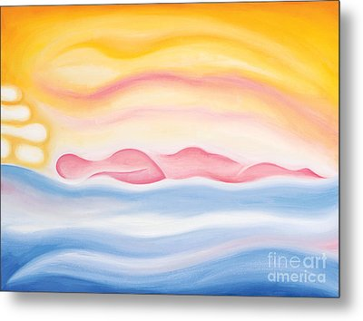 Metal Print featuring the painting Sleep All Day by Tiffany Davis-Rustam
