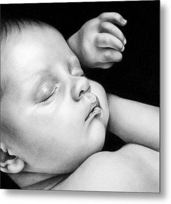 Sleeping Baby Metal Print by Natasha Denger