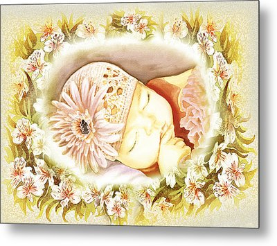 Metal Print featuring the painting Sleeping Baby Vintage Dreams by Irina Sztukowski