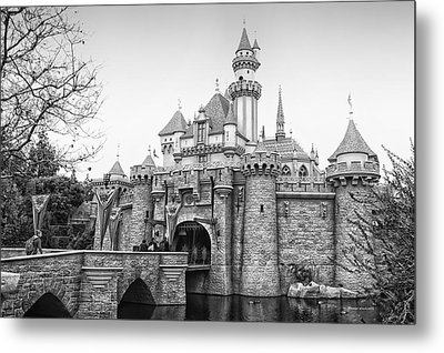 Sleeping Beauty Castle Disneyland Side View Bw Metal Print by Thomas Woolworth