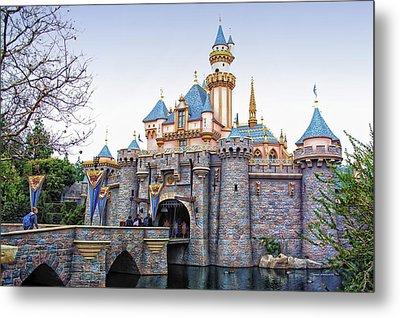 Sleeping Beauty Castle Disneyland Side View Metal Print by Thomas Woolworth
