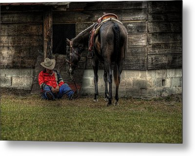 Sleeping Cowboy Metal Print