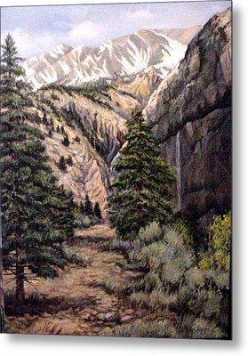 Metal Print featuring the painting Sleeping Faces In The Rock by Donna Tucker