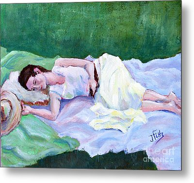 Sleeping Girl Metal Print by Janet Felts