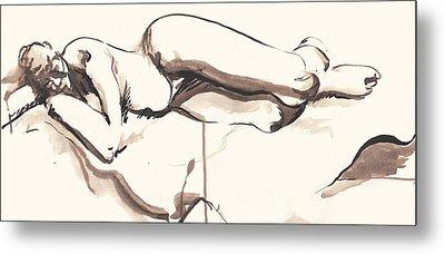 Sleeping Nude Metal Print by Melinda Dare Benfield