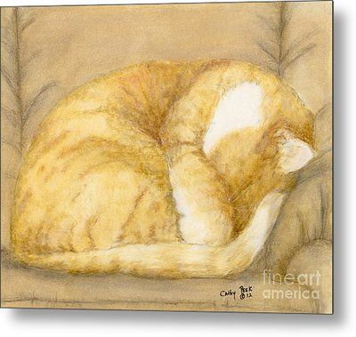 Sleeping Orange Tabby Cat Feline Animal Art Pets Metal Print by Cathy Peek