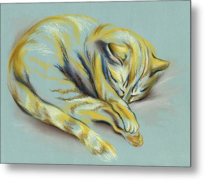 Metal Print featuring the pastel Sleeping Tabby Kitten by MM Anderson