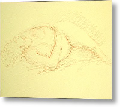 Sleeping Woman Metal Print by Deborah Dendler
