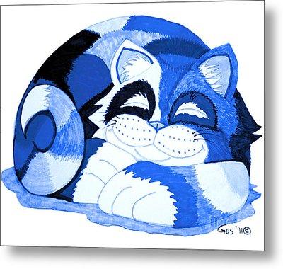 Sleepy Blue Cat Metal Print by Nick Gustafson