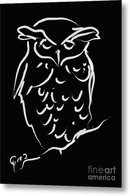 Sleepy Owl Metal Print by Go Van Kampen