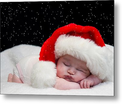 Sleepy Santa Baby Metal Print