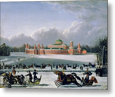 Sleigh Race At The Petrovsky Park In Moscow Metal Print