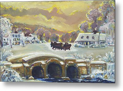 Sleigh Ride By The Creek Metal Print