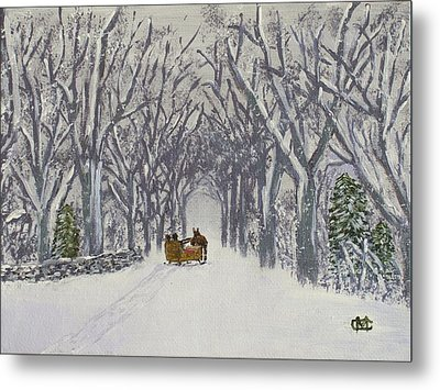 Metal Print featuring the painting Sleigh Ride Through Time by Cynthia Morgan