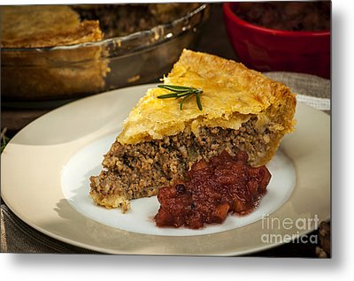 Slice Of Meat Pie Tourtiere Metal Print by Elena Elisseeva