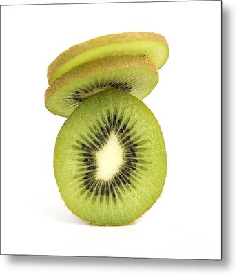 Sliced Kiwis Metal Print