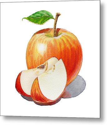 Sliced Red Apple  Metal Print by Irina Sztukowski